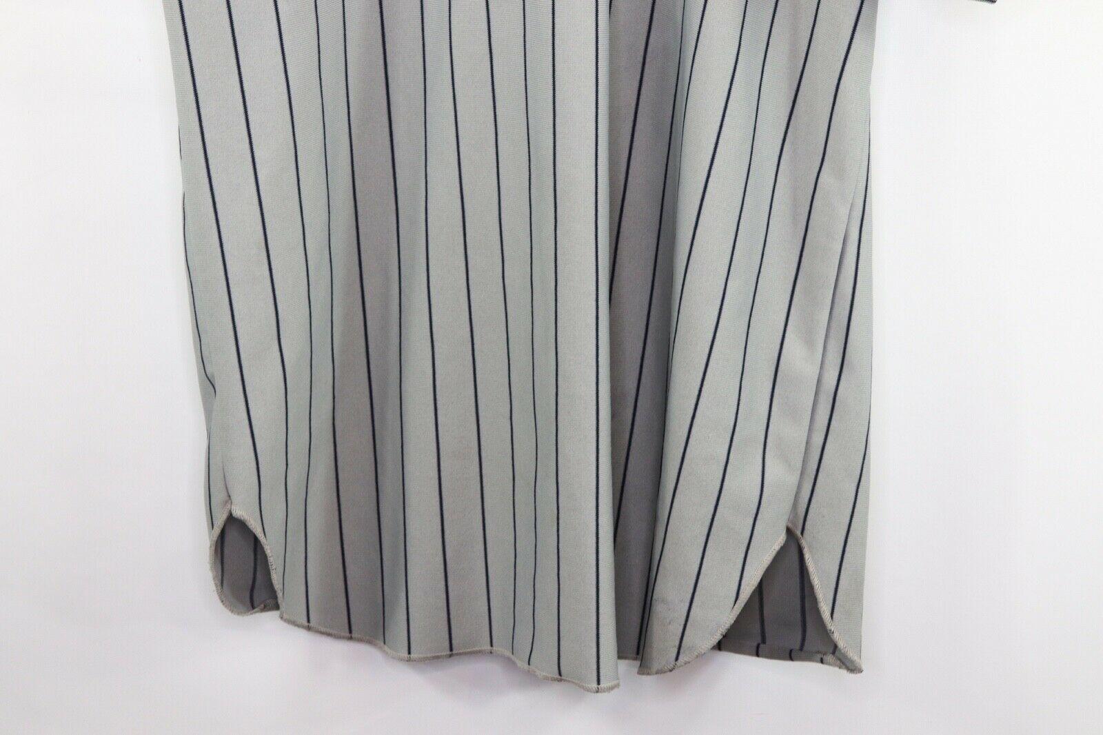Vintage 90s Mens XL New York Yankees MLB Baseball Jersey Pinstripe Gray Blue image 8