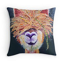 "Lama 15.5""x15."" oil painting print Pillow Cover w Filling zips two sided... - $46.53"