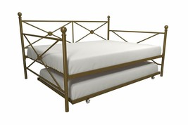 Gold Metal Daybed Frame Full Bed WITH TWIN TRUNDLE Kids Bedroom Furnitur... - $305.81