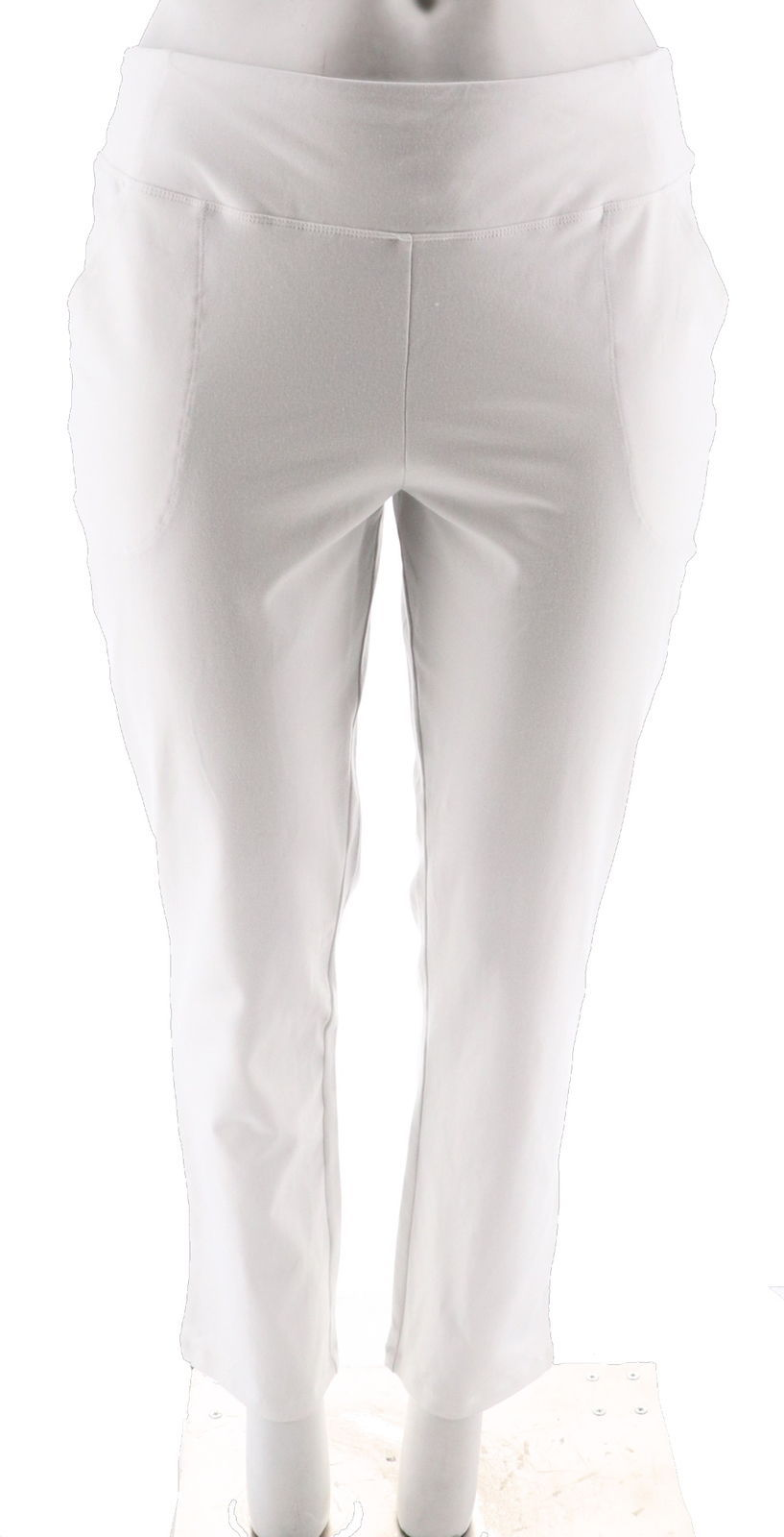 Women with Control Seamed Tummy Control Ankle PantsPockets White L NEW A302064