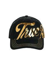 True Religion Men's Gold Metallic Script Print Strapback Baseball Hat TR2666T image 3