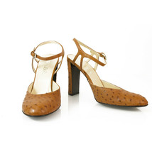 Prada Tan Ostritch Leather Slingback Sturdy Heels Mary Jane Shoes Pumps size 39 - $292.05