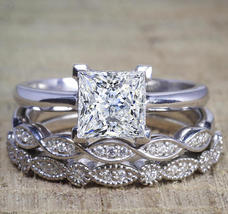 Princess D/VVS1 Dia 3Pcs Bridal Engagement Ring Set 14K White Gold Over Silver - $124.79
