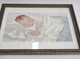 Fells Naptha Soap Sleeping Baby Print Framed Under Glass Advertising 13x... - $34.64
