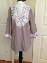 INC Petites Taupe & White 3/4 Sleeve Soft Cotton Embroidered Tunic Peasa... - $6.80