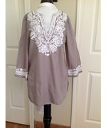 INC Petites Taupe & White 3/4 Sleeve Soft Cotton Embroidered Tunic Peasant Top - $6.80