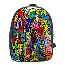 Backpack School Bag Turtle Wayne Doodle Abstract Animation Nature Beautiful Art  - $33.00