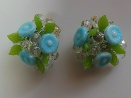 Vintage Signed W. Germany Blue Flowers & Green Leaves Beads clip-on Earrings - $21.77