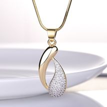 Women's Royal Jewelry Set Austrian Crystal Gold Stud Earrings + Pendant Necklace image 5