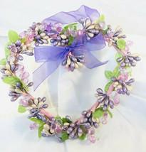 Primitive Valentine Pip Berry Handmade Pink Purple Hearts Door Wreath De... - $17.42