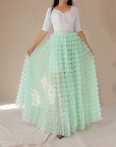 Mint Green Tiered Tulle Skirt High Waisted Tiered Long Tulle Skirt Outfit  image 7
