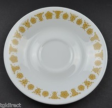 "Corning Butterfly Gold Pattern Flat Cup Saucer 6.25"" Round Corelle White Glass - $2.99"