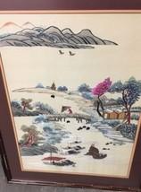 Asian Silk EMBROIDERED ART  Framed Glass Matte Landscape - $198.00