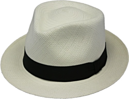 Henschel Genuine Panama Handcrafted Trilby Fedora Black Ribbon Band Tan Natural - $124.00