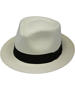 Henschel Genuine Panama Handcrafted Trilby Fedora Black Ribbon Band Tan ... - $118.00