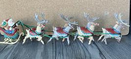 Hallmark Keepsake Christmas Ornaments 1992 Santa And His Reindeer Five P... - $61.70
