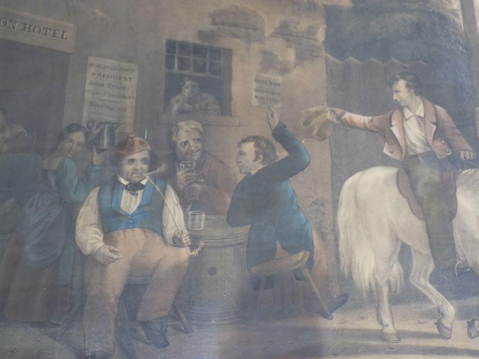 Rare Antique 1841 Hand Colored Print Log Cabin Politician W Harrison Hall Bowen