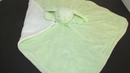 Blankets & Beyond Bunny rabbit Security Blanket green white zigzag under... - $20.04