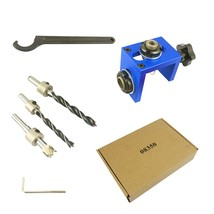 Woodworking Pocket Hole Locate Punch Jig Kit + Step Drilling Bit Wood To... - $68.70