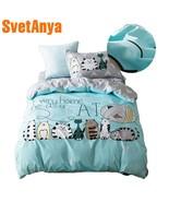 2018 Lovely Cats Green Cartoon Kids Big Pattern Bedding Set Cotton Twin ... - $73.40