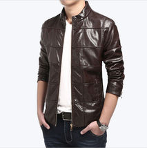 Men Skinny Dark Brown Leather Jacket Coat For Men - $150.00