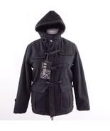 Zero Degrees Black Wool Blend Duffel Coat Toggle Buttons Womens Sz L New - $43.53