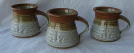 Signed Studio Pottery 3 Mugs Earth Tones Stone Cups EUC Rounded Lip
