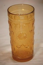 American Concord Amber Brockway Glass Flat Tumbler 8oz Textured Scroll S... - $14.84