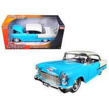 1955 Chevrolet Bel Air Hard Top Blue Showroom Floor 1/24 Diecast Model C... - $34.69