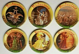 """Vintage Set 6 Budweiser Beer Metal Coasters Official Product 3.5"""" NEW! H9 - $39.99"""