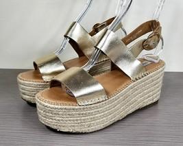 Steve Madden Cali Espadrille Platform Sandal, Gold Leather, Womens Size 9 M - $49.49