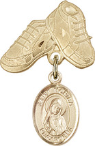 14K Gold Filled Baby Badge with St. Monica Charm and Baby Boots Pin 1 X 5/8 inch - $102.90