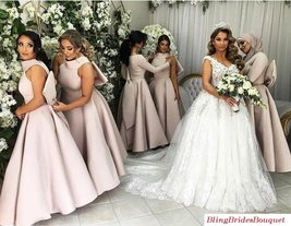 Satin Ankle Length Bridesmaid Gowns Wedding Party Dresses With Big Bow image 1