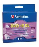 Verbatim 95311 8.5GB 8x Branded AZO DVD+R DLs, 5 pk with Slim Cases - $28.43