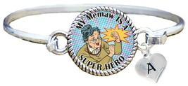 My Memaw is a Super Hero Comic Look Silver Cuff Bracelet Jewelry Choose Initial - $14.24
