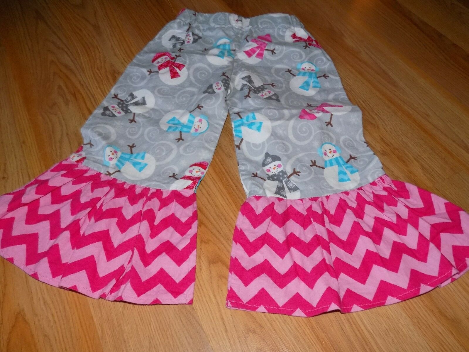 Primary image for Toddler Size 3T Homemade Holiday Snowman Chevron Ruffle Hem Pants Gray Pink EUC