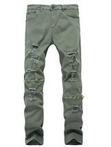 Lavnis Men's Slim Fit Destroyed Jeans with Holes Pencil Pants Slim Zipper Jeans  - $21.49