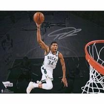Giannis Antetokounmpo Bucks Signed 8x10 Spotlight Dunking Photo Fanatics. - $242.55