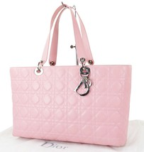 Auth CHRISTIAN DIOR Pink Quilted Leather Lady Tote Shoulder Bag Purse #2... - $695.00