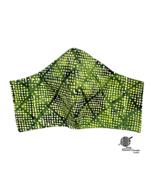 Chartreuse Face Mask Polka Dot Green Yellow Batik Cotton Facemask Handmade - $10.00