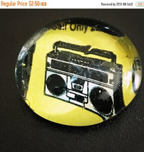 Boom Box Comic Glass Pebble Magnet/Pin - $1.50