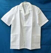 White Dental Pharmacy Scrub Top Men's M Zip Front S/S Collar Chef BodyGa... - $21.31