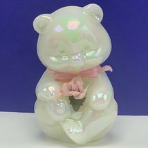 Fenton glass teddy bear figurine birthday sculpture milk opalescent pink... - $82.08