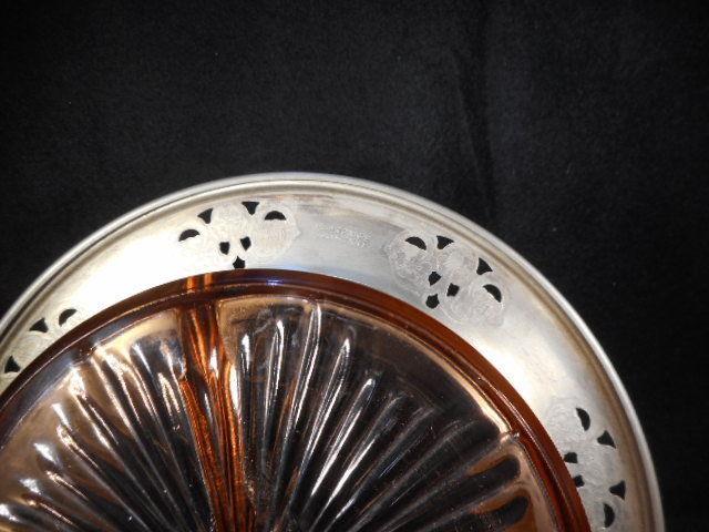 Vintage Pink Depression Glass 3 Pt  Divided Relish Dish Handled Metal Holder