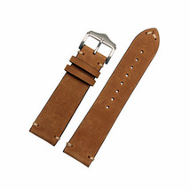 Generic Brown Vintage Leather Watch Strap Double Stitches 20mm fits Role... - $42.42