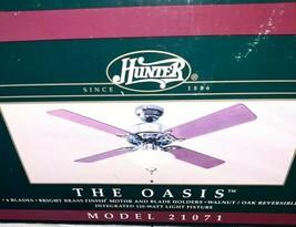 Hunter Ceiling Fan The Oasis Fan 21071 New 4 Blade Bright Brass Walnut/oak - $102.85