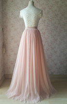 Blush Pink Full Long Tulle Skirt Blush Wedding Tulle Skirt Bridesmaid Outfit image 5