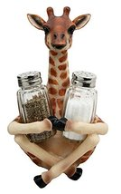 Ebros Gift Safari Adorable Giraffe Far Reach Salt And Pepper Shakers Hol... - $20.74