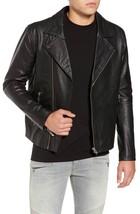 Vintage stylish collar Men's Genuine leather Jacket Slim fit Biker jacket-GL14