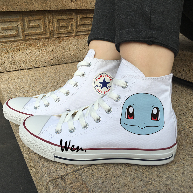 White Canvas Shoes Anime Pokemon Squirtle Design Men Women Converse All Star for sale  USA